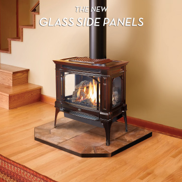 Lopi traditional black gas stove with glass panels on the side Spa Brokers