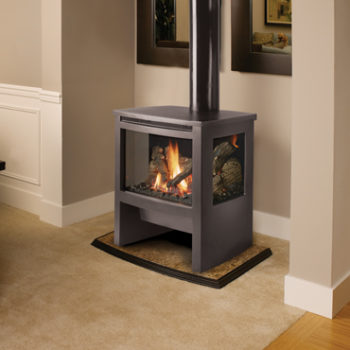 Lopi traditional black gas stove in contemporary style home Spa Brokers