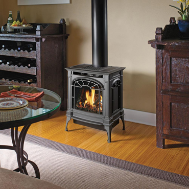Lopi traditional black gas stove in a traditional home Spa Brokers