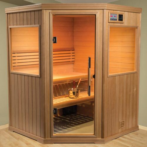 finnleo corner spa with wood panels and glass door Spa Brokers