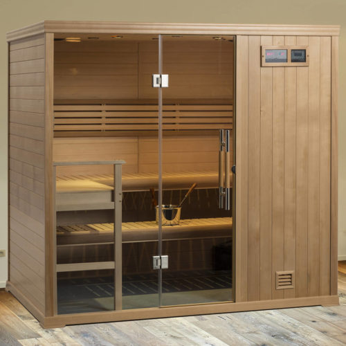 finnleo sauna with top to bottom glass and wood panels Spa Brokers