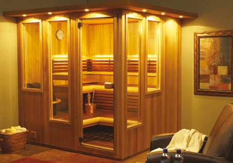 Saunatec Finnelo The Mystique Sauna staggered windows benches showing lights outside sauna spa brokers