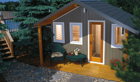 Saunatec Finnelo Metro Outdoor Sauna looks like a cottage with a roof spa brokers