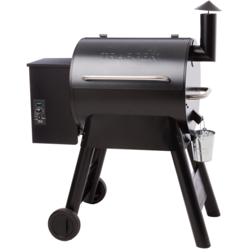 full view of traeger grill pro series 22 pellet grill with black top spa brokers