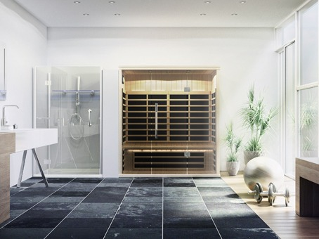 Finnleo Infrared S-830 Sauna wood with glass doors in wall in bathroom spa brokers