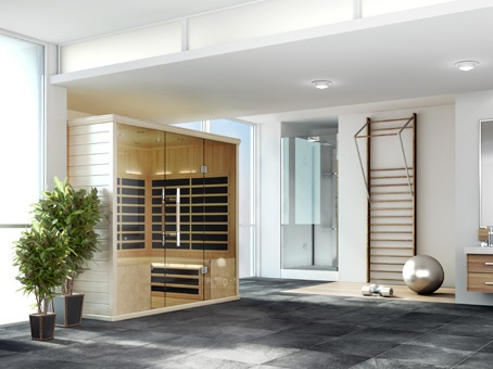 Finnleo Infrared S-840 Sauna wood with glass doors in contemporary home spa brokers