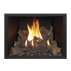 small photo of gas fireplace flame with larger logs Spa Brokers