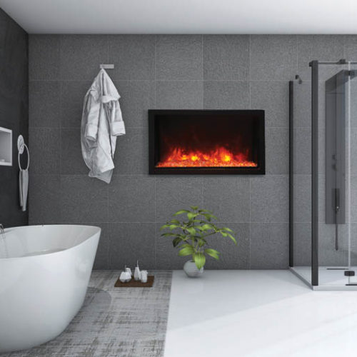 3D image of modern style bathroom with Amantii fireplace in the wall Spa Brokers