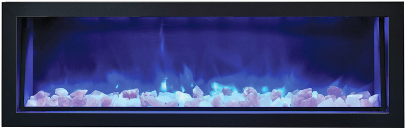 amantii electric fireplace with blue flames and white rocks Spa Brokers