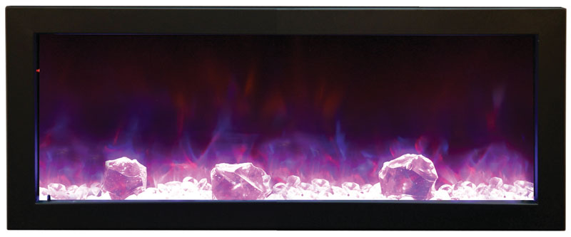 amantii electric fireplace with blue and orange flames and large rocks Spa Brokers