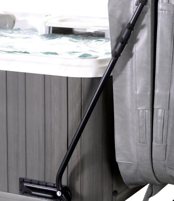 Leisure Concepts gray CoverMate 2 to make covering hot tub easier spa brokers