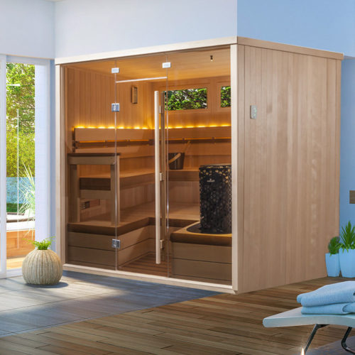 finnleo deco sauna with full glass front and wood side panels Spa Brokers