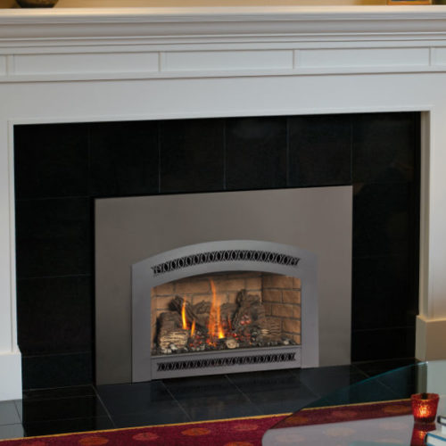 xtrordinair gas fireplace insert in contemporary white fireplace Spa Brokers