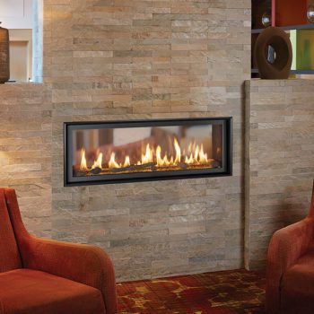 xtrordinair 4415 ST gas fireplace insert around contemporary stone in middle of two rooms in home Spa Brokers