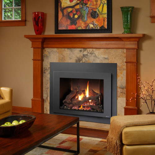 xtrordinair fireplace insert in warm setting inside home spa brokers