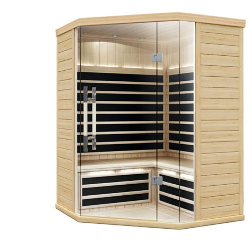 Finnleo Infrared S-870 Corner Sauna wood with glass doors spa brokers