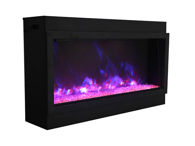 amantii electric fireplace with blue and orange flames Spa Brokers
