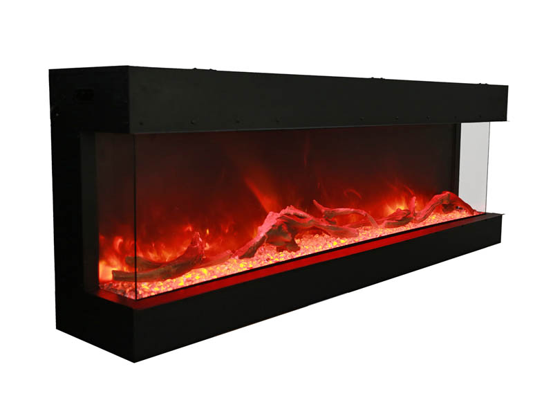large tru view 3 sided electric fireplace with yellow an orange flames Spa Brokers