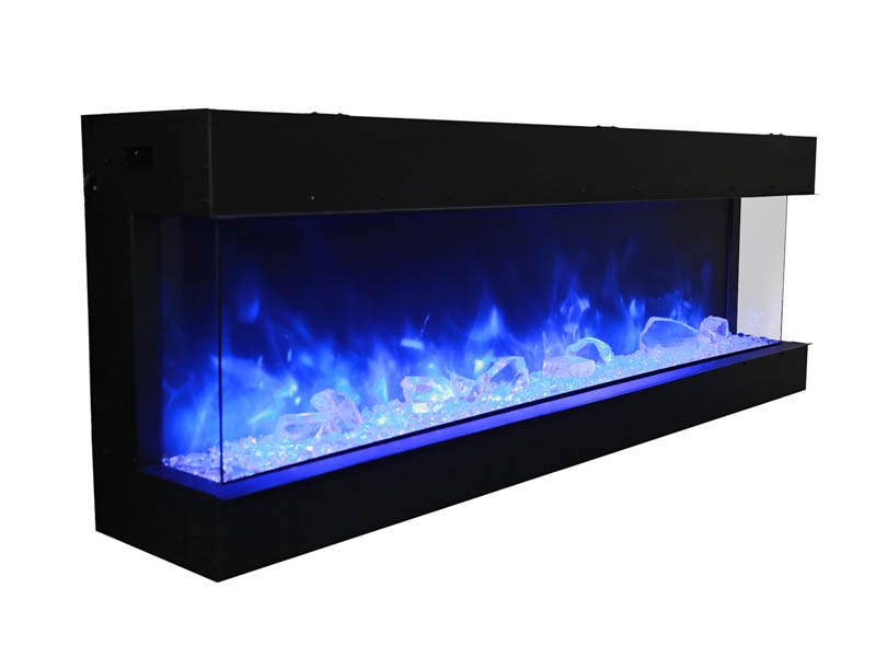 cool blue flame tru view large 3 sided fireplace Spa Brokers