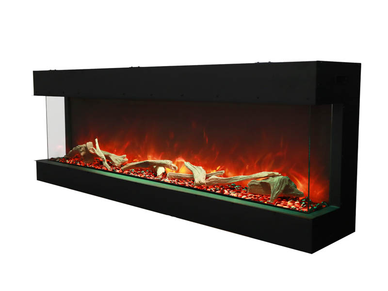 side view of large 3 sided electric Tru View fireplace Spa Brokers