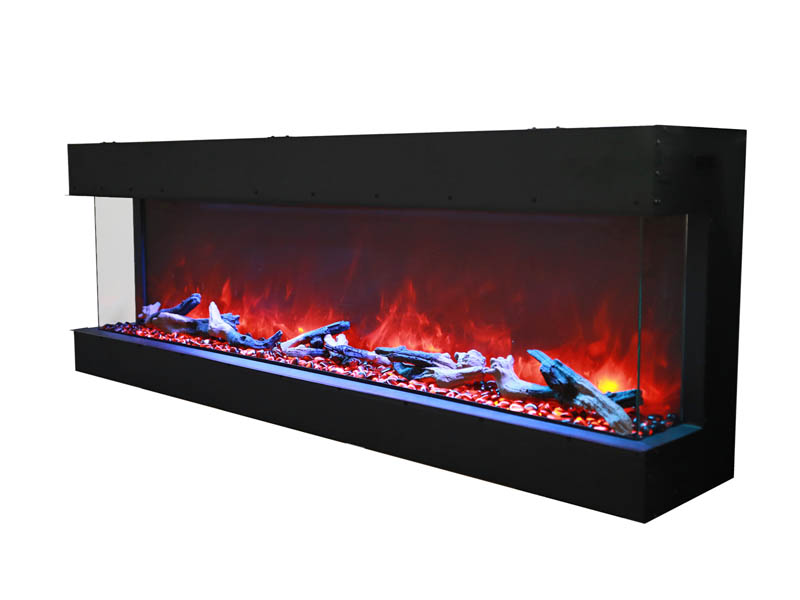 side view of Tru View 3 sided electric fireplace Spa Brokers