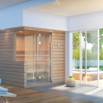 Finnleo The Twilight Sauna corner unit wood and glass in contemporary home spa brokers