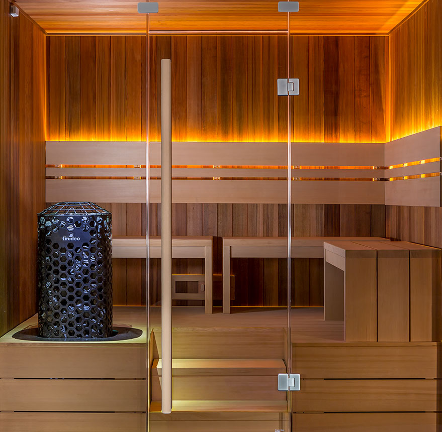 finnleo deco sauna with full glass front and moveable benches Spa Brokers