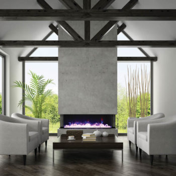 3D image of contemporary home with Tru View 3-sided fireplace with stone above it Spa Brokers