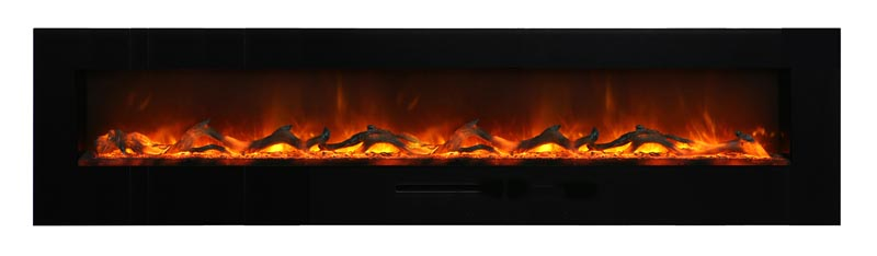 close up view of long contemporary electric fireplace in wall Spa Brokers