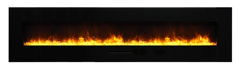 yellow flame view of wall mount electric fireplace Spa Brokers
