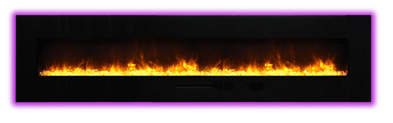 flame view of long electric fireplace Spa Brokers