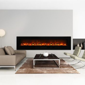 very contemporary large electric fireplace in white wall in living room Spa Brokers