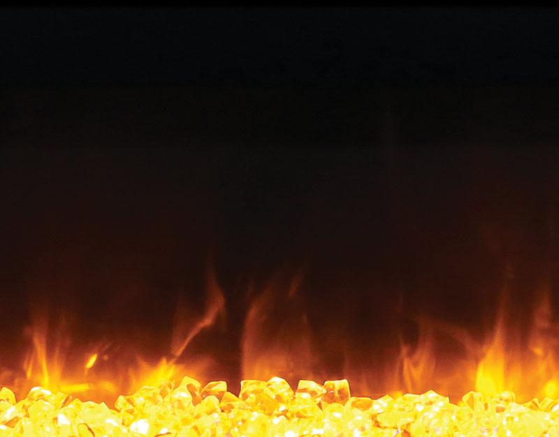 close up image of yellow and orange flames in wall mount fireplace Spa Brokers