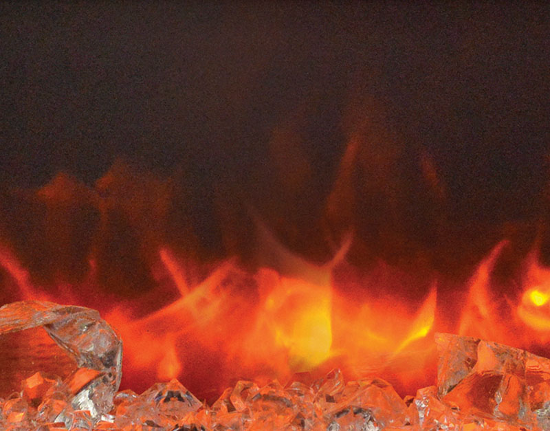 close up image of orange flame in electric fireplace