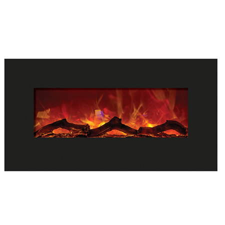 AMANTII 34″ ELECTRIC FIREPLACE – BLACK GLASS