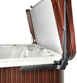 Leisure Concepts brown CoverMate 3 to make covering hot tub easier spa brokers