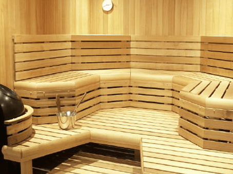 Custom large corner large sauna with bench space spa brokers