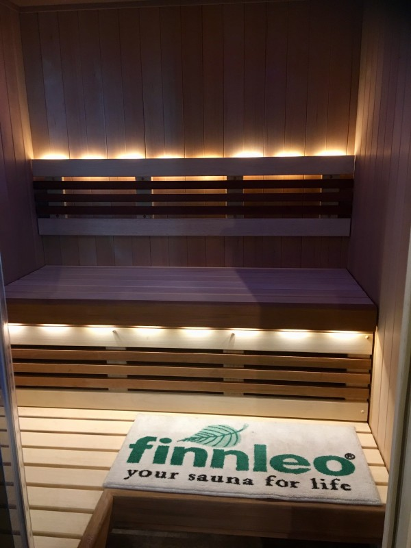 Finnelo Sauna close up of bench and lightening spa brokers
