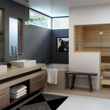 Saunatec Finnelo Custom-Cut Sauna contemporary look in bathroom spa brokers