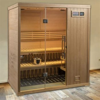 small finnleo sauna with wood paneling and glass door Spa Brokers