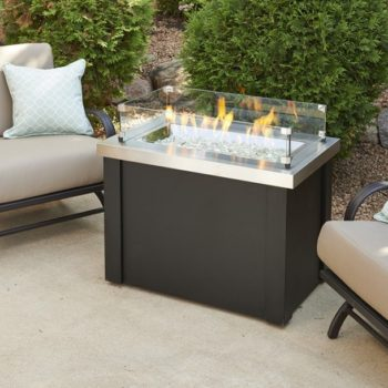 providence black stainless steel glass fire pit Spa Brokers