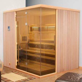 finnleo large corner sauna with wood panels and large glass window Spa Brokers