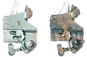 Metal rusted from salt water spa brokers
