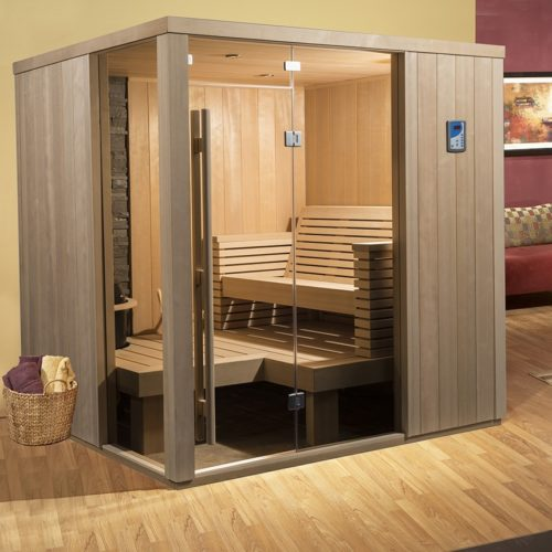 finnleo seaside sauna with glass door Spa Brokers