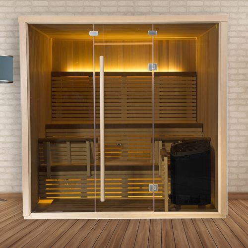 finnleo serenity sauna with full glass front Spa Brokers
