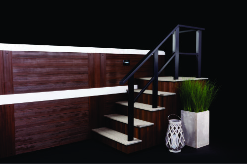 nice steps with railing going into hot tub or swim spa spa brokers