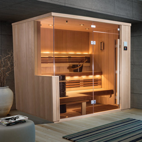 contemporary finnelo vita sauna with glass front and wood panels on sides Spa Brokers